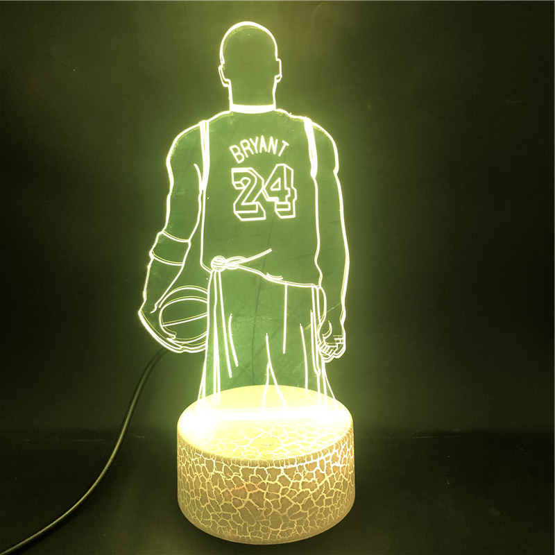 3D Lamp Basketball Star No.24 Kobe Bryant Famous Sportor The Alarm Clock Base Battery Powered Usb Led Night Light Lamp
