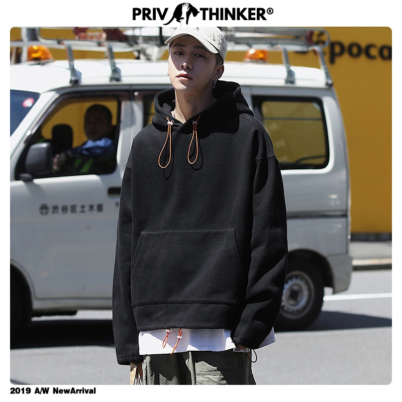 Privathinker Men Woman Autumn Colorful Solid Loose Street-Style Sweatshirts 2019 Mens Harajuku Hat Hoodies Male Sweatshirts 5XL