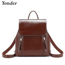 Yonder Women backpack school bags for teenager girls genuine leather school backpack for women large Capacity mochila brown 2019