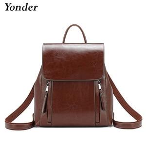 Image 1 - Yonder kobiety plecak szkolne torby dla nastolatków dziewczyny prawdziwy skórzany plecak szkolny dla kobiet o dużej pojemności mochila brown 2019