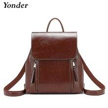 Yonder mochila de piel auténtica para mujer, morral escolar para adolescentes y niñas, de gran capacidad, color marrón, 2019