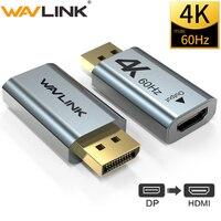 알루미늄 4 k displayport dp hdmi 어댑터 4 k 2 k @ 60 hz 1080 p 여성 남성 pc 노트북 프로젝터 dp hdmi 변환기 wavlink