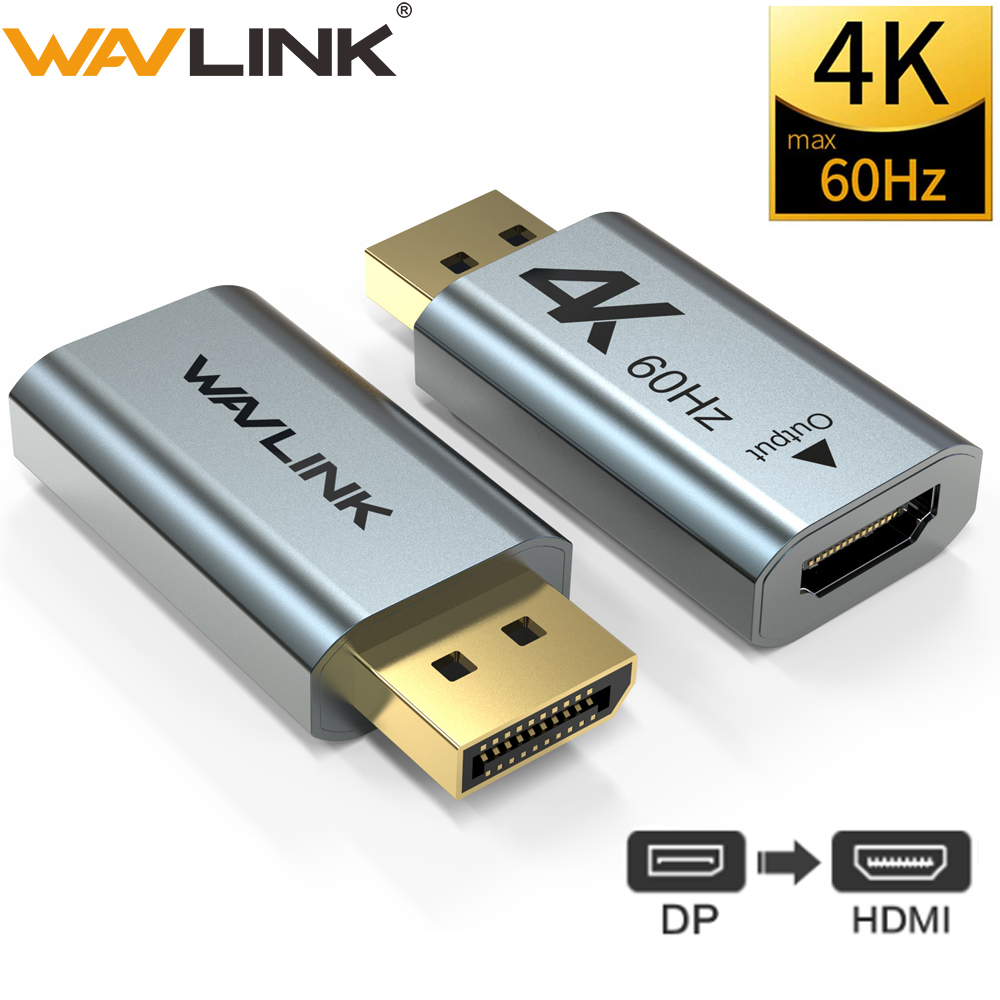 Aluminum 4K Displayport DP to HDMI Adapter 4K 2K 60Hz 1080P Female To Male For PC Laptop Projector DP to HDMI Converter Wavlink