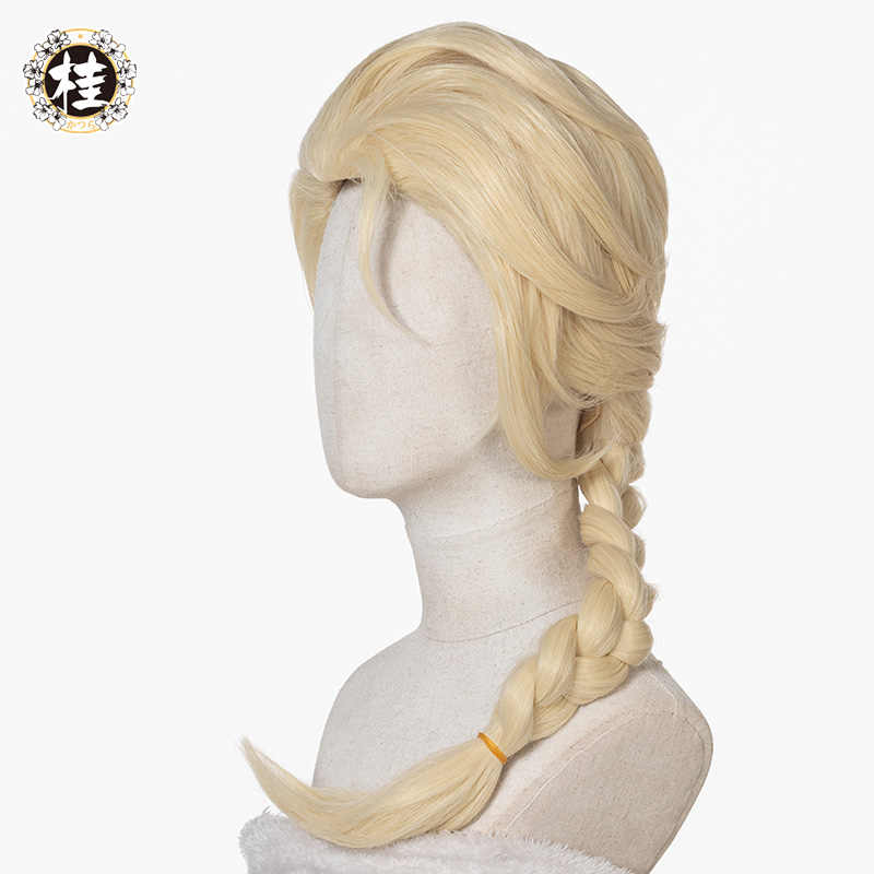 Uwowo neve princesa elsa cabelo loiro tecelagem trança cosplay perucas longo encaracolado peruca