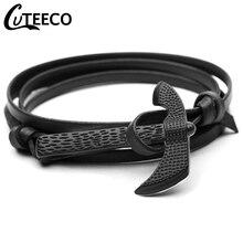 Cuteeco Men Leather Wrap Bracelet Wristband Black Axe Hatchet Viking Punk Bracelets Bangles Cool Friendship Gifts