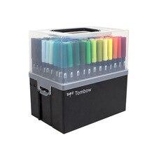 Tombow abt caneta escova dupla 96/108 cores arte marcador com suporte macio aquarela caligrafia desenho mistura coloração arte suprimentos