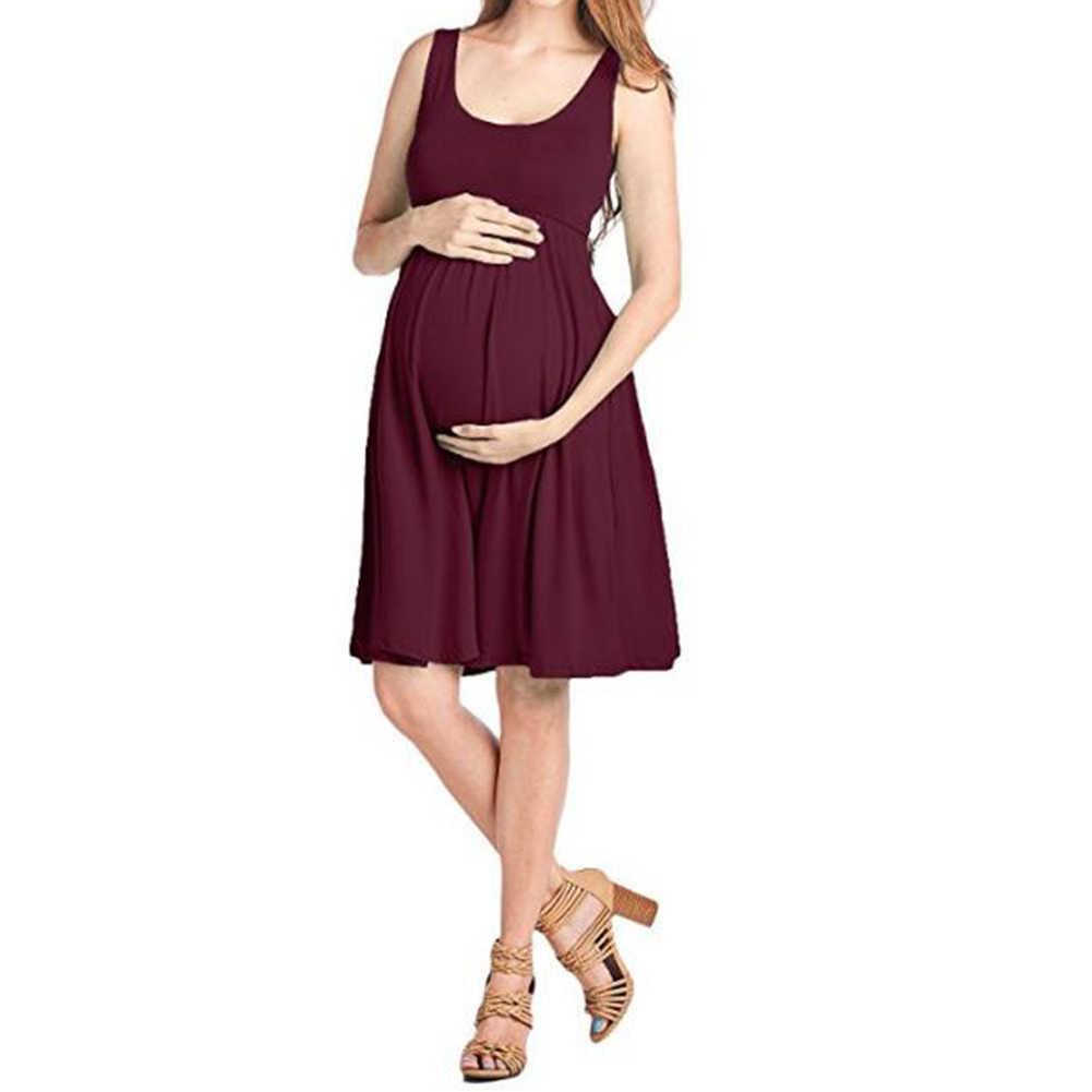 Vestido de Maternidad sin Mangas SUNNSEAN Mujer Vestidos Cuello Redondo Mujer Embarazada Camisa Estampada Color Liso Graciosas Lindas de Beb/é Camiseta de Manga Corta de Maternidad Suelta de Premam/á