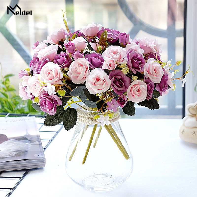 5 Branches Pink Flower Bunch Silk Roses Artificial Flowers Roses Wedding Home Table Decor Arrange Fake Roses Flowers Bouquet