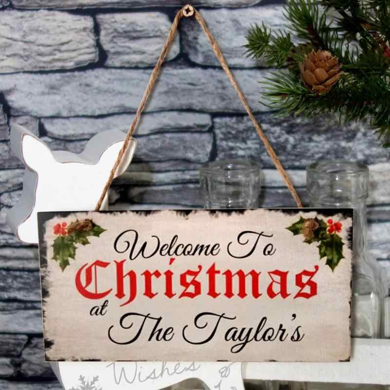 Wesołych świąt drewniana ściana znak na drzwi płyta wisząca płyta MDF skandynawski retro ełk Log kolor dekoracja okienna pokoju 20X10X. 05CM