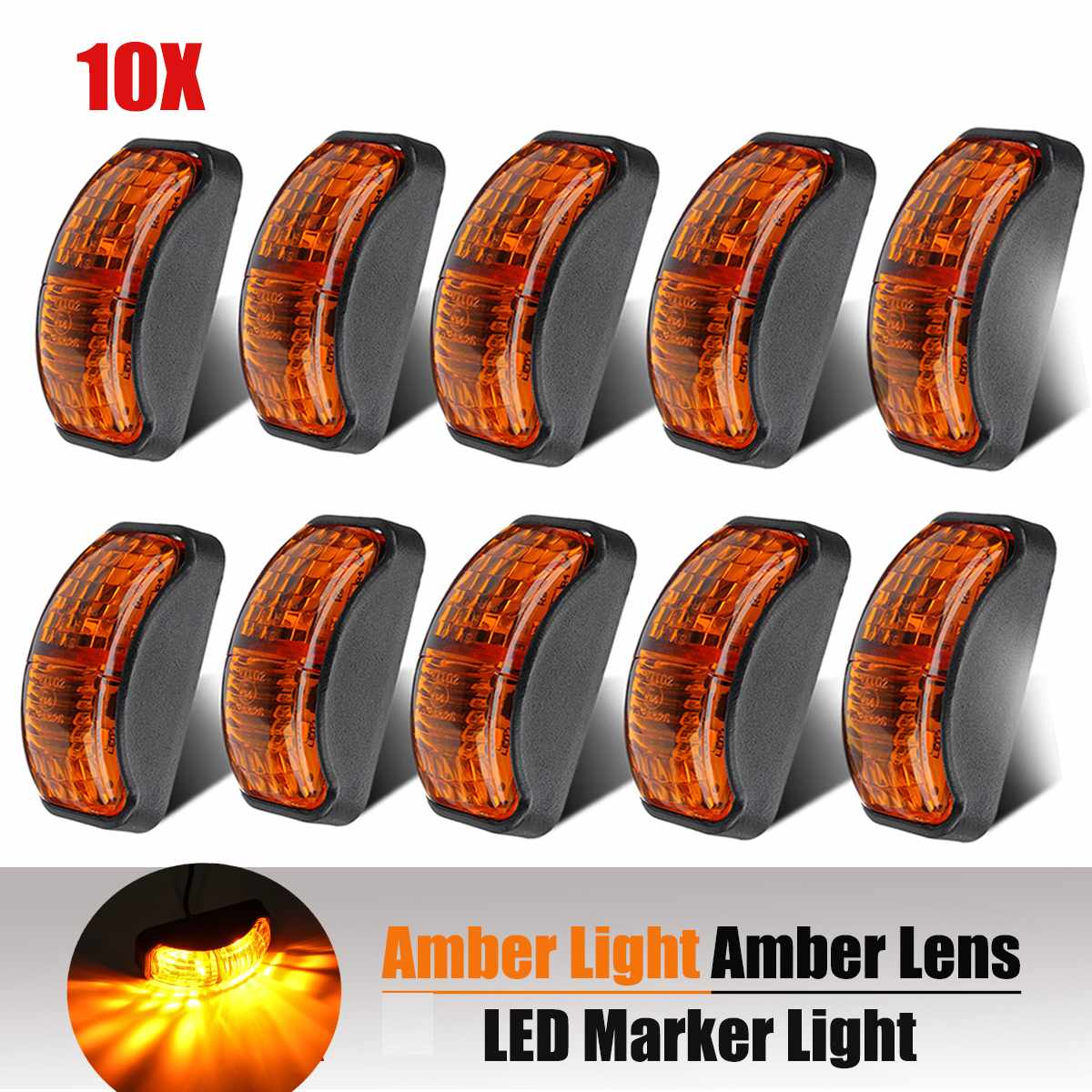 10pcs 12V <font><b>24V</b></font> <font><b>LED</b></font> Car <font><b>Truck</b></font> Side Marker Light Clearance <font><b>Lamp</b></font> Signal Indicator Light for Trailer Van Lorry Bus Amber image