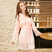 2019 New spinning silk nightdress ladies spring autumn long-sleeved lace silks home night gowns sleepwear S090