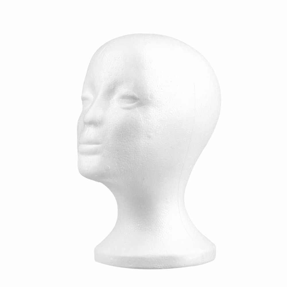 2017 caliente blanco femenino de poliestireno cabeza de maniquí modelo de espuma de esponja Peluca de pelo gafas de exhibición de gafas de pie de exhibición