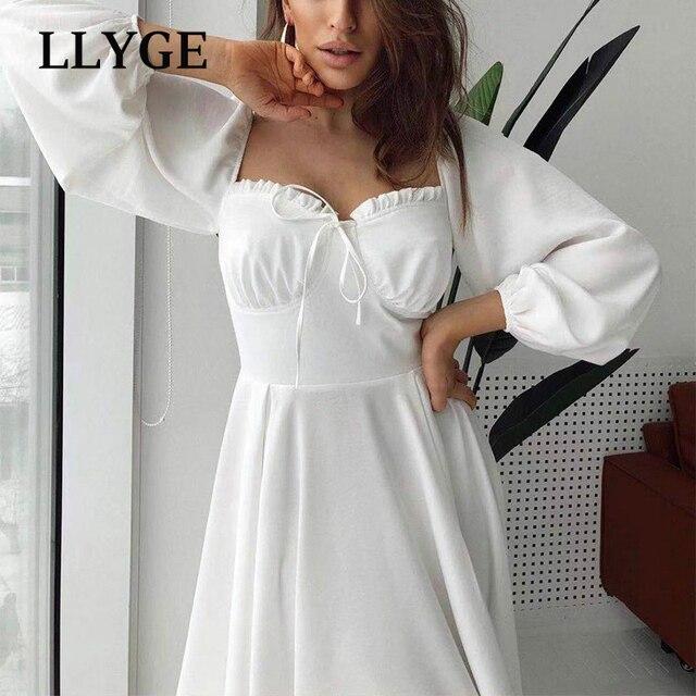Elegant Spring White Women's Dress Vintage High Waist Puff Long Sleeve Female Dresses 2021 Spring Fashion Office Ladies Vestidos 2