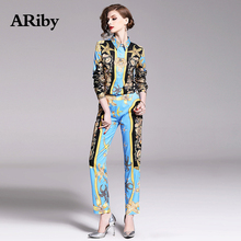 ARiby Women Blue Elegant Two Piece Set 2019 Autumn New Fashion Casual Long Sleeve Shirt+Trousers Slimming Printing