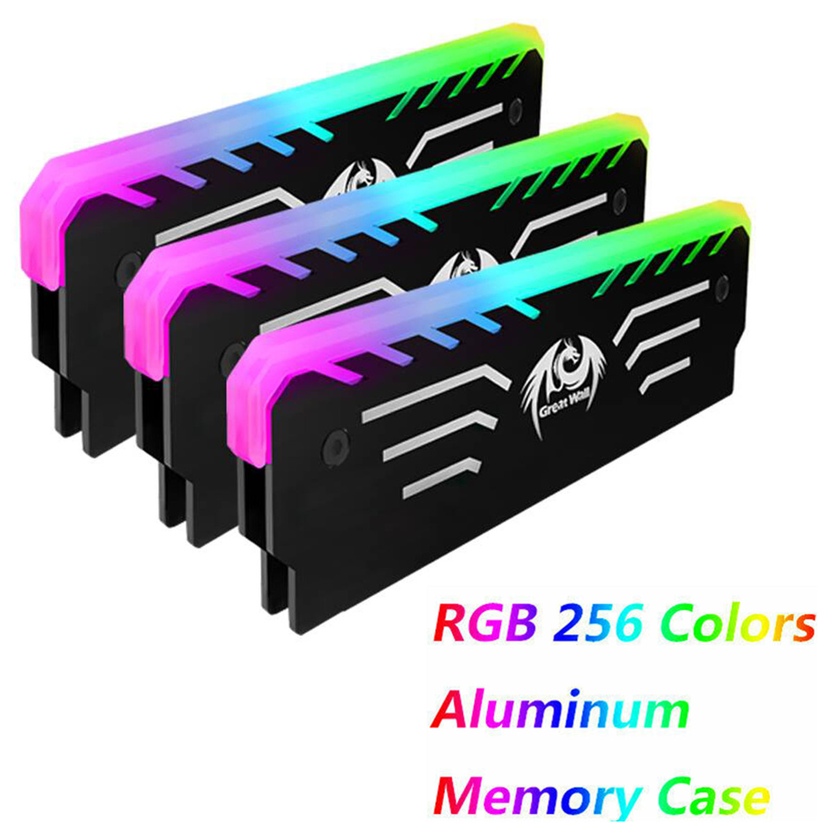 Memory Cooling Heatsink 4pcs ARGB LED RAM Heat Sink RGB Addressable 5V 3Pin Cooler for DIY PC Game MOD DDR DDR3 DDR4 Cover Kit with Controller