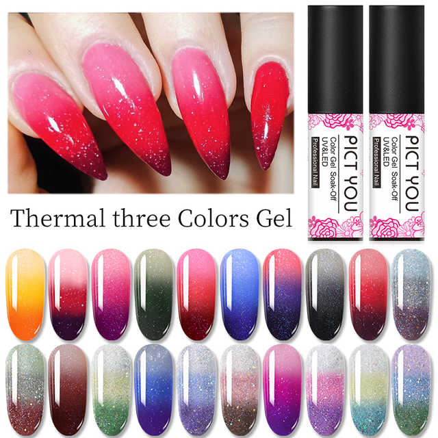 1 Bottle PICT YOU Color Changing Nail Gel Three Colors Soak Off Gel Polish Thermal Gel Temperature Change Nail Gel 2