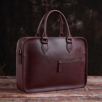 NUPUGOO Vintage Briefcase Men's Genuine Leather Casual Man Handbag Coffee Fashion Shoulder Business Office Laptop 15 Inch Bag