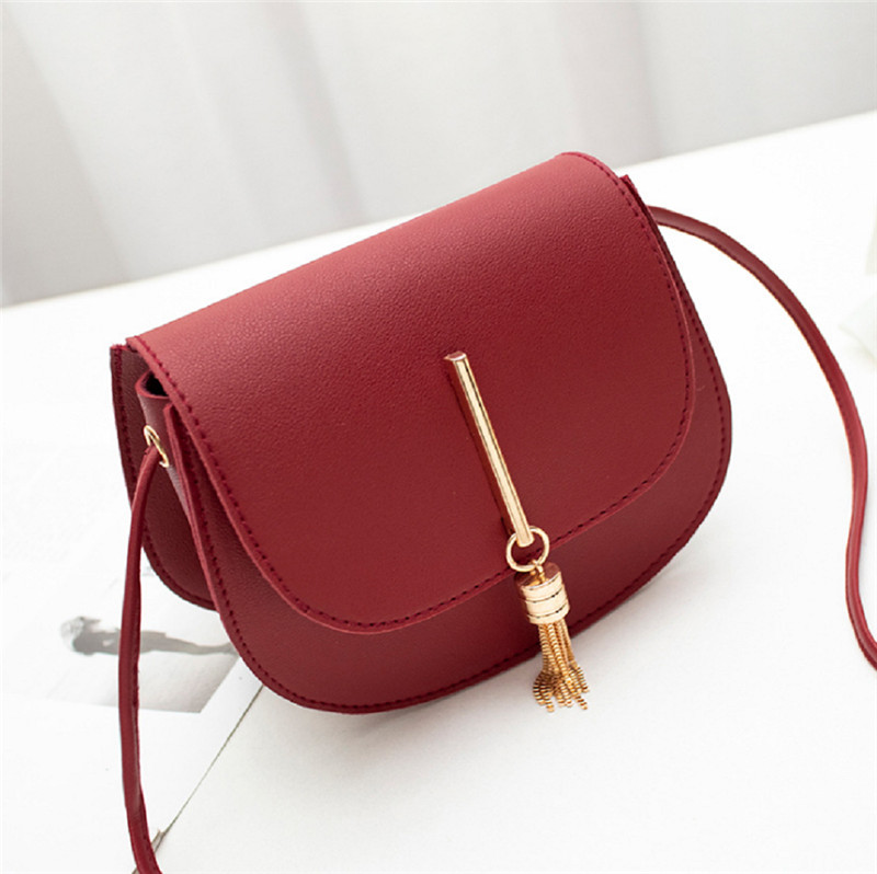 Women Fashion PU Leather Solid Hasp Shoulder Messenger Bags Lady Mini Fringe Tassels Shell Handbags Gift New
