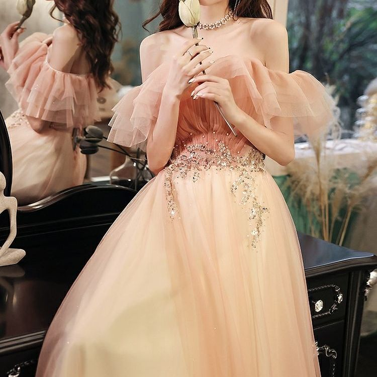 Champagne Pink Celebrity Dresses Off the Shoulder A-Line Shiny Pleat Ruffles Ceremony Wedding Party Guests Prom Evening Dresses