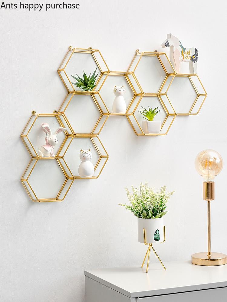 Creative Hexagon Metal Glass Wall Mount Room Home Decor Living Room Bedroom Modern Simple Wall Shelf Geometric Shelf