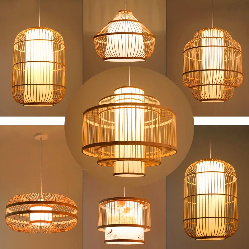 Chinese Bamboo LED Pendant Light Restaurant Dining Room Kitchen Hanging Light Hotel Farm Teahouse Tatami Bamboo E27 Pendant Lamp