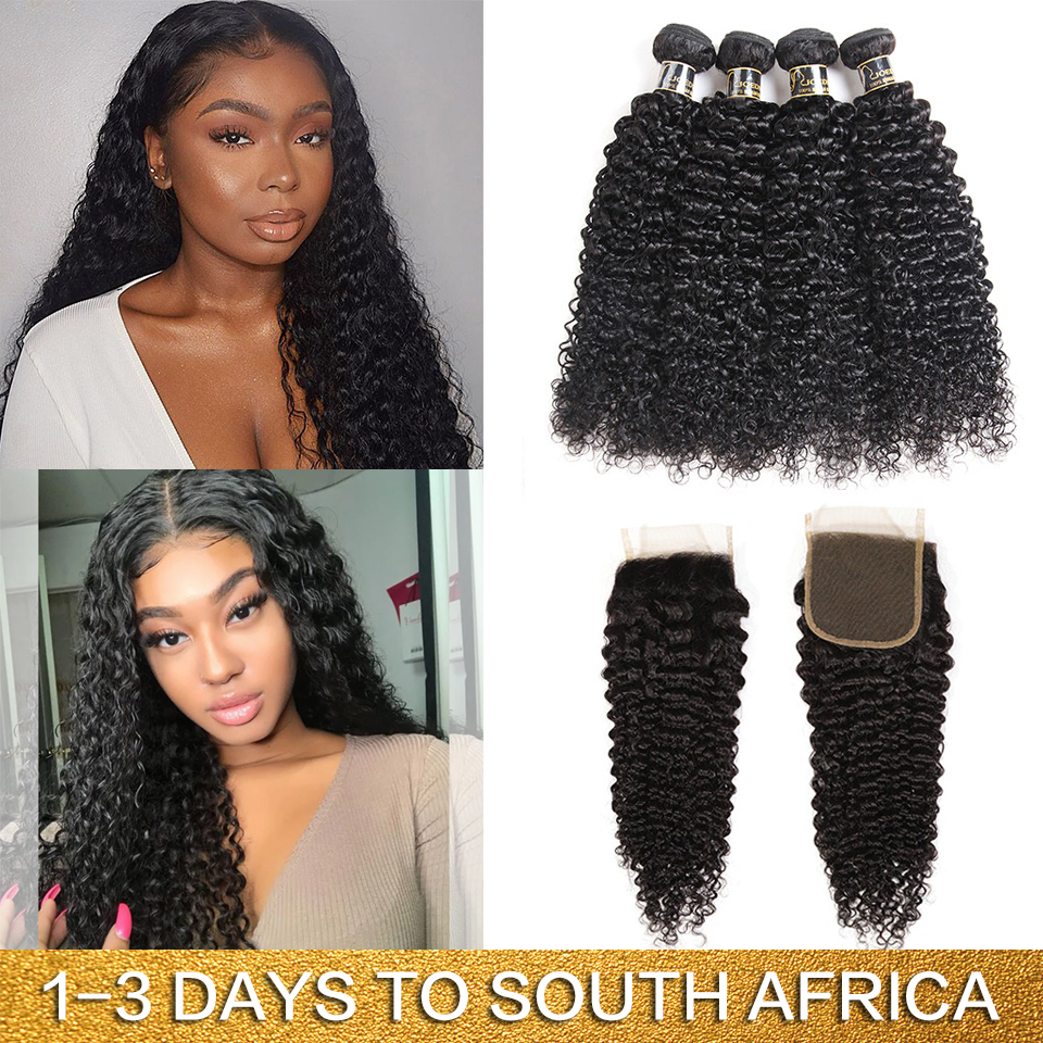 Joedir Hair Mongolian Afro Kinky Curly Hair With Lace Closure Human Hair Bundles With Closure 3 Bundles With Closure Non Remy