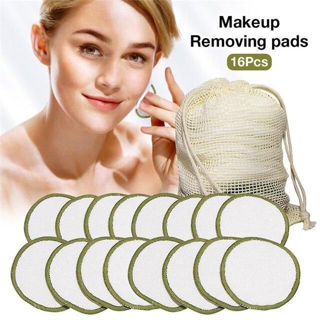 Bamboo Fiber Makeup Remover Pad 20Pcs/Lot Reusable Bamboo Cotton Facial Care Pad Skin Cleaning Tools Makeup Beauty Accessories