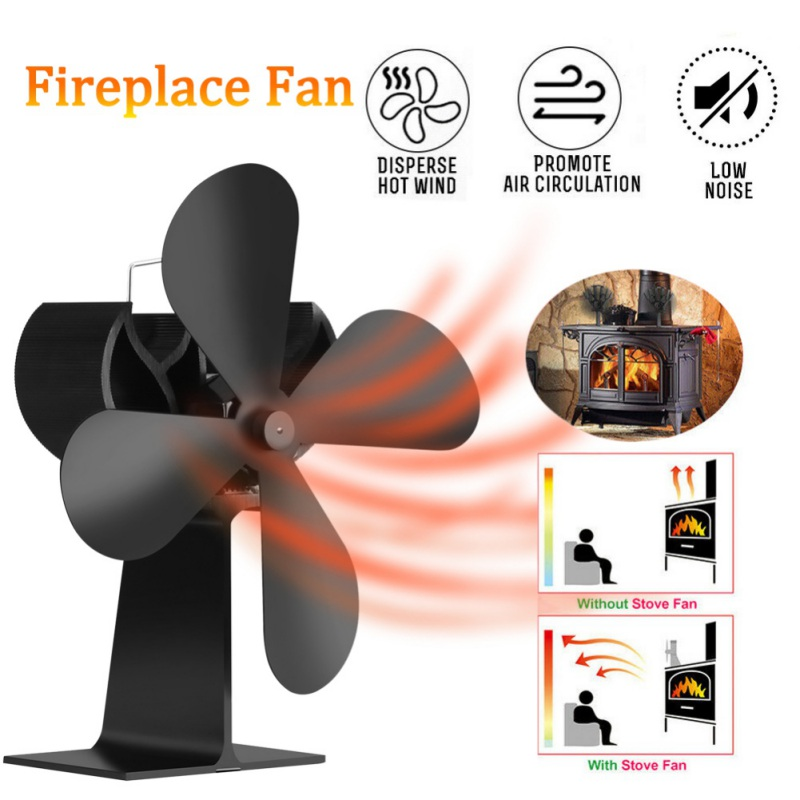 Eco-Friendly Heat Powered Fireplace Fan Wit Handle 4 Blades Silent Operation Stove Fan Circulating Warm Air Saving Fuel Efficien
