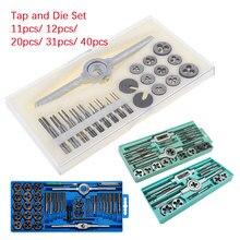 Tap Die Set M3-M12/ M1-M3.5/ M6-M12 Screw Thread Metric Taps Wrench Dies Diy Kit Wrench Screw Threading Hand Tools 11pcs-40pcs
