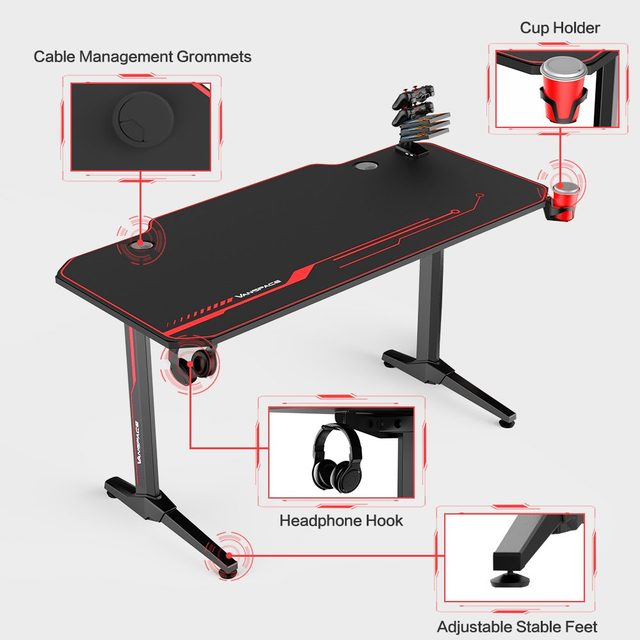 43/47/55 Ergonomic Gaming Desk E-sports Computer Table PC Desk Gamer Tables Workstation with USB Gaming Handle Rack&Mouse Pad 2