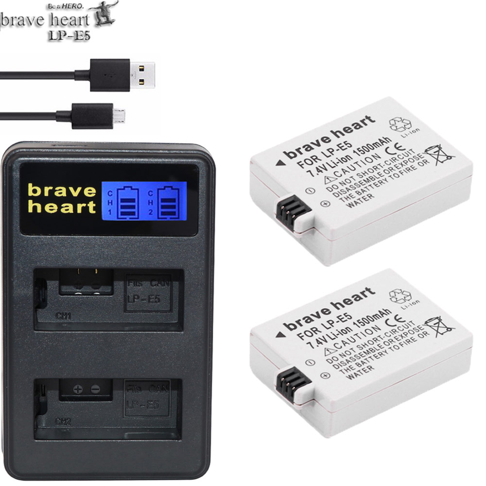 2x 1800mAh LP-E5 Battery LCD Charger for Canon EOS 1000D 500D Rebel XSi T1i X3