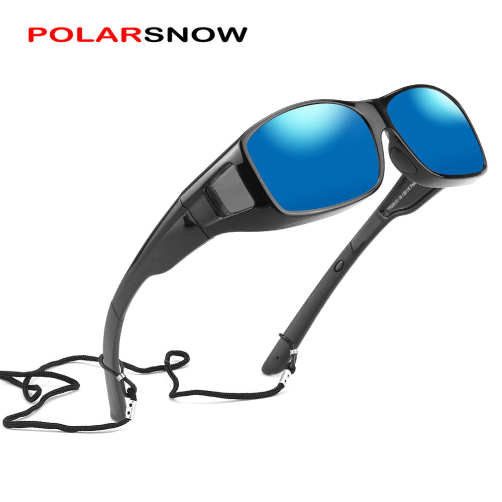 POLARSNOW Polarized Fit Over Sunglasses That Cover Myopia Glasses Eyewear Wear Over Sun Glasses Rectangle Frame With Side Lens