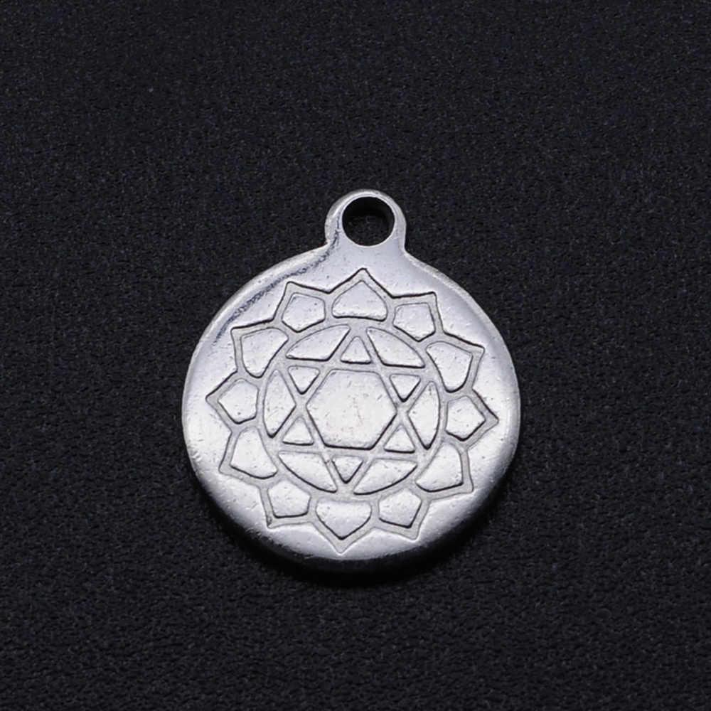 10 Stks/partij Hoge Kwaliteit 100% Rvs Chakra Meditatie Charms Hangers Voor Armband Ketting Maken Accessoires