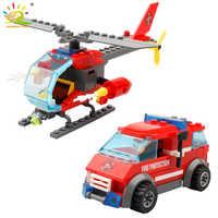 Caminhão de combate a incêndios helicóptero modelo blocos de construção legoing cidade bombeiros figura brinquedos tijolos educativos para crianças