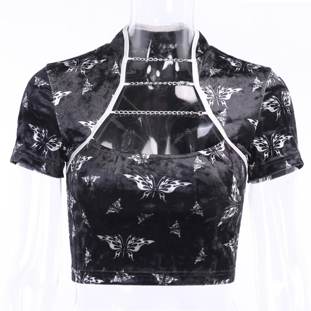 Sexy Butterfly Print Cheongsam Womens Tops And Blouses Gothic Women Tops Fashion Chain Hollow Out Blouse Women
