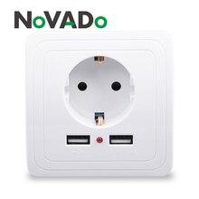 цена на NOVADO Smart Home Dual USB Port 2400mA Wall Charger Socket 16A EU Standard Electrical Plug Socket Power Outlet 110~250V