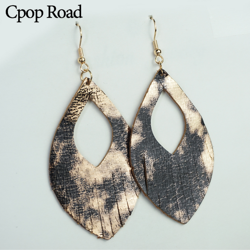 Cpop Trendy Hollow Glitter Genuine Leather Earrings Women Nature Shiny Elegant Tassel Dangle Earring Fashion Jewelry Accessories