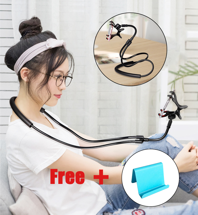Lazy Mobile Phone Holder Hanging Neck Necklace Bracket Bed 360 Degree Phones Holder Stand For IPhone Xiaomi Huawei Mobile Holder