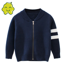 Kids Striped Sweater Tops Children Boy Autumn Winter Knitted Cardigan Sweater Baseball Coat New Toddler Jacket Outerwear Clothes
