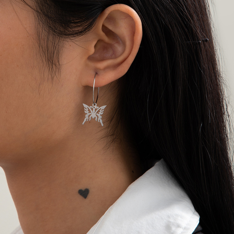 TIMEONLY Cool Hollow Out Butterfly Earrings for Women Silver Color Alloy Simulation Wing Hoop Earrings Minimalist Accessories