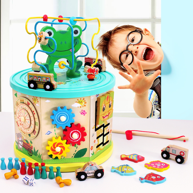 Wooden Activity Cube -Bead Maze, Gear Game, Shape Sorter, Abacus Toy Activity Center for Kids 1 year + Early Development