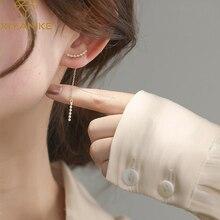 XIYANIKE 925 Sterling Silver Korean Long Zircon Tassel Pendant Earrings Female Temperament Fashion Jewelry Wedding Gift Handmade