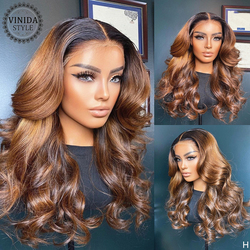 VINIDA STYLE Ombre Wave 13×6 Lace Front Human Hair Wigs Scalp Top Closure Wigs With Baby Hair 150% Density Non-Remy