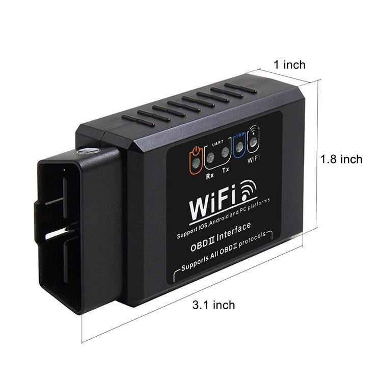 Черный ELM327 V1.5 OBD2 wifi автомобильный детектор неисправностей Диагностический сканер для Android IOS PC платформа OBDII Автомобильный сканер для считы...