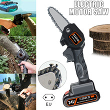 ANENG 4Inch Mini Electric Chainsaw Portable 24V Pruning Shears Chain Saw Power Tool with Replace Cutter Head for Wood Cutting