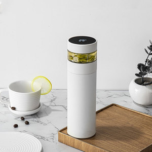 Double Wall Stainless Steel Thermos With Tea Filter 400ml Leak-proof Water Bottle LCD Temperature Display Smart Vacuum Flask