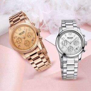 Image 3 - MEGIR Women Lover Wrist Watch Top Brand Luxury Gold Female Chronograph Date Clock Classic Business Quartz Watches Gift Box 2057