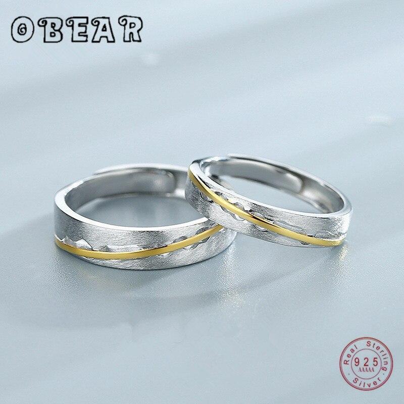 OBEAR 925 스털링 실버 연인 반지 골드 링크 라인 매트 닦았 로맨틱 반지 남성 여성 커플 약혼 쥬얼리