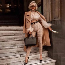 2019 Autumn New Europe and The United States Sexy Short Vest Bubble Sleeve Coat High Waist Pleated Leggings Two-piece Suit Women europe and the united states high end red small suit women s long sleeve suit jacket office interview work and leisure two set