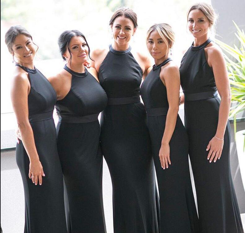 2020 Sexy noir longue robes de demoiselle d'honneur sirène licou cou arabe formelle robes de mariée robe de bal pas cher